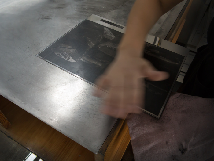 Hand Wiping Photogravure Etching Printmaking Sipho Mpongo