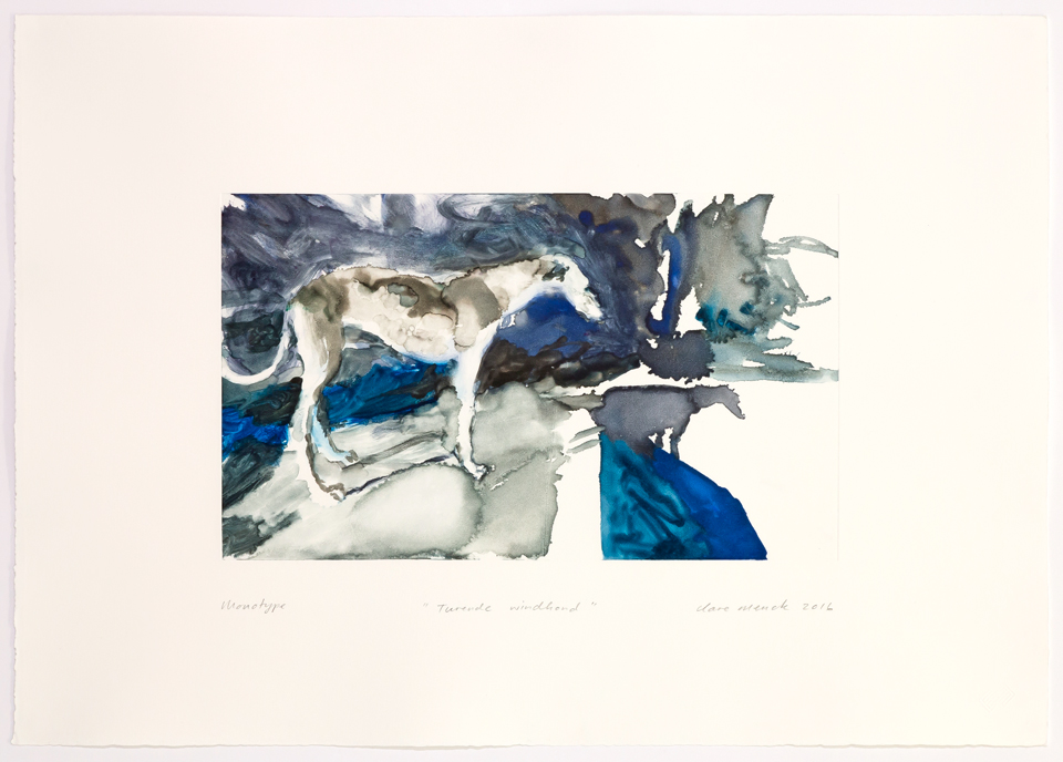 Clare Menck, Turende windhond, PRINTS, monotype,