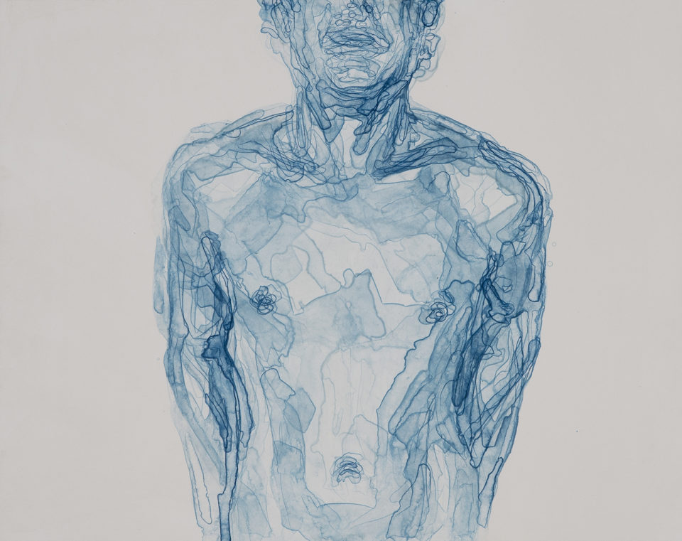 Kate Arthur, Body in Blue II; 2017, Monotype on Zerkall Intaglio 250gsm, Unique Print