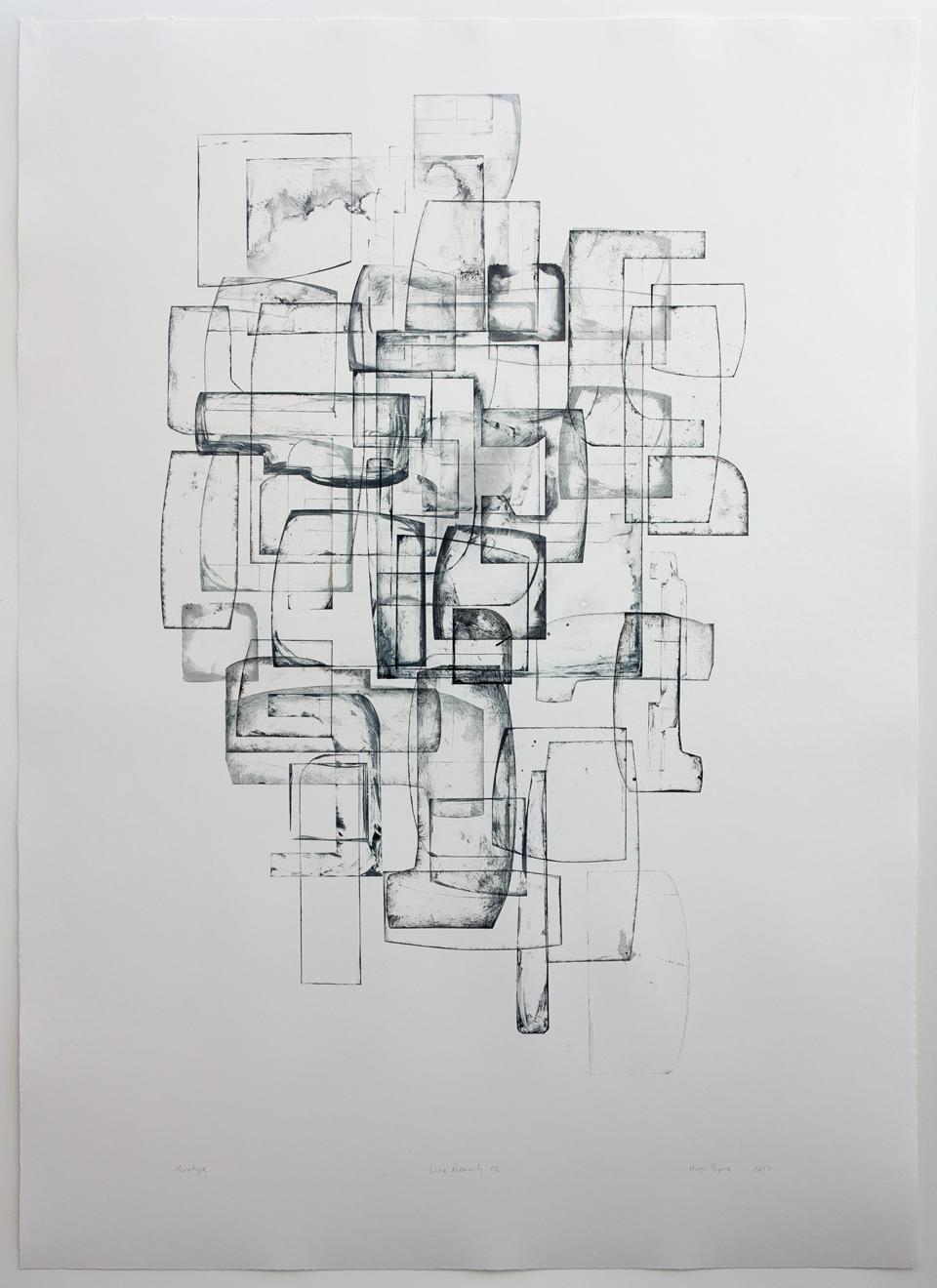 Hugh Byrne, Line Proximity 02, Monotype, Prints