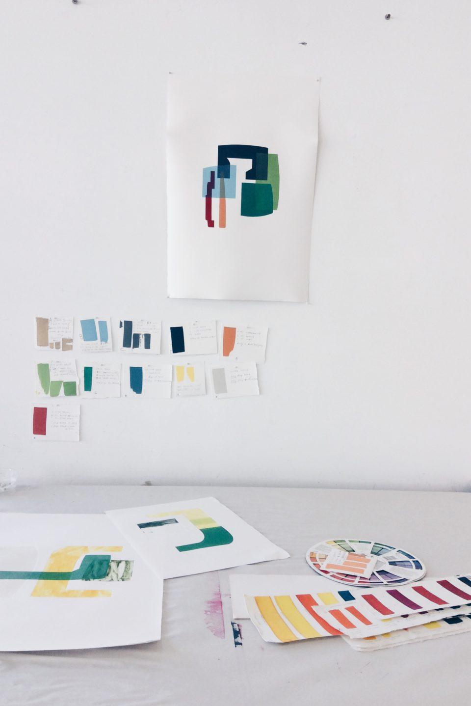 Hugh Byrne monotype prints