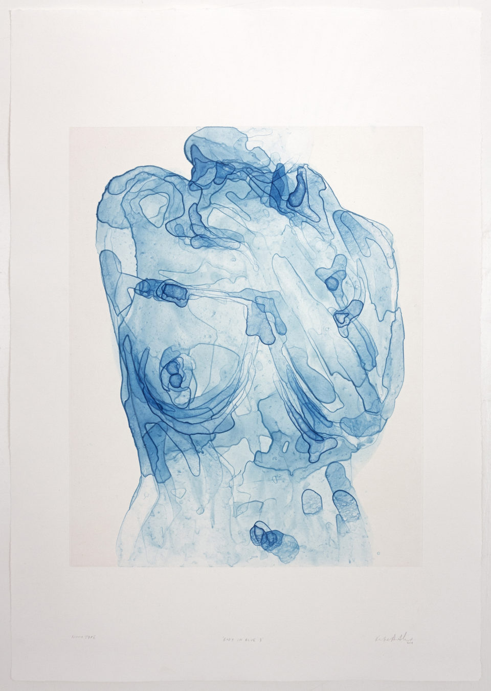 Kate Arthur, Body in Blue 3, Monotypes, prints,