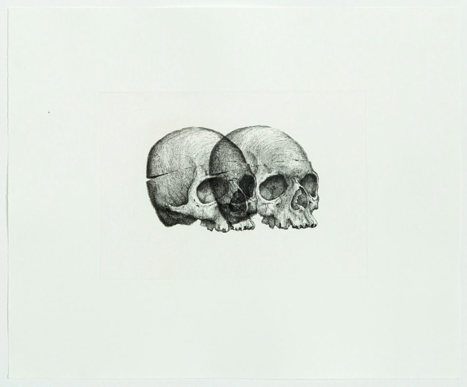 Gerhard Marx, Binocular Skull 1, Prints, Etching